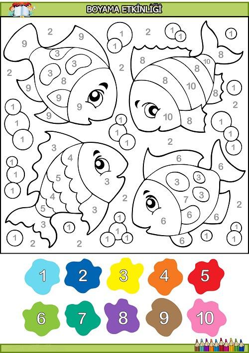 Dört Balık Rakamlara Göre Boyama Etkinliği Meb Ders