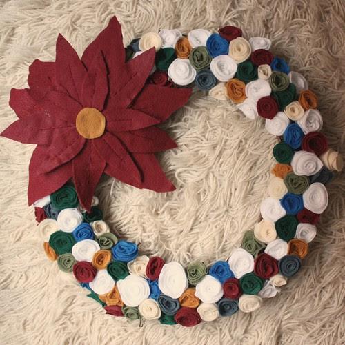 Felt Rose Wreath with Felt Poinsettia
