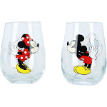 Disney Mickey and Minnie Mouse Kissing Wine Glasses - Clear one size