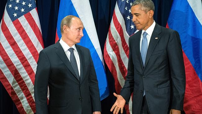 U.S. President Barack Obama, right, and Russia's President Vladimir Putin before a bilate