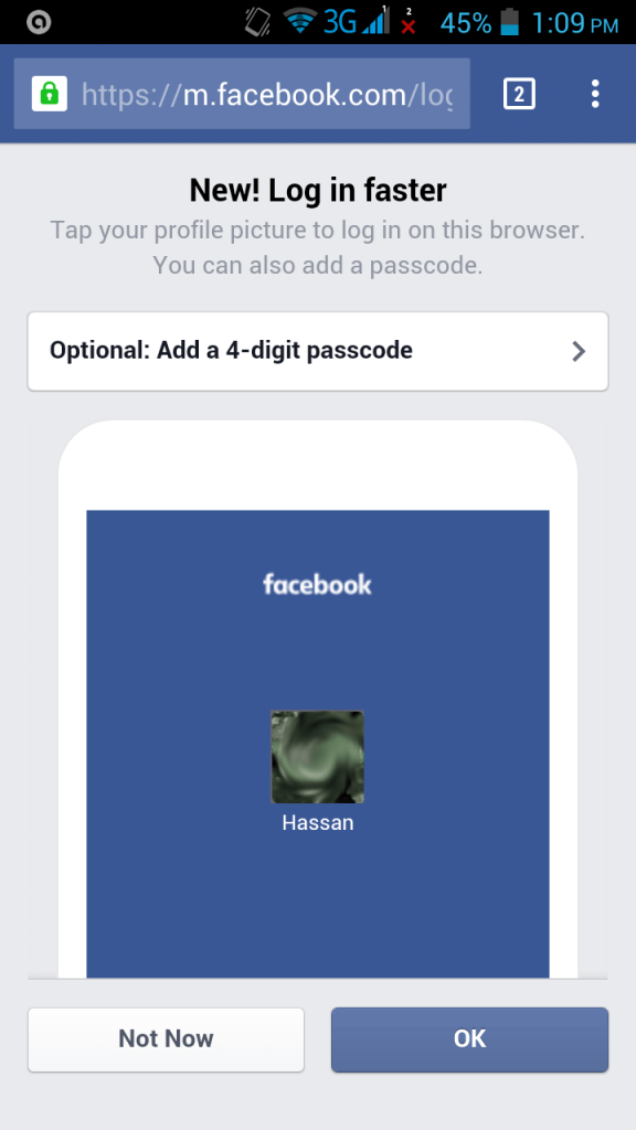 4 digit passcode facebook