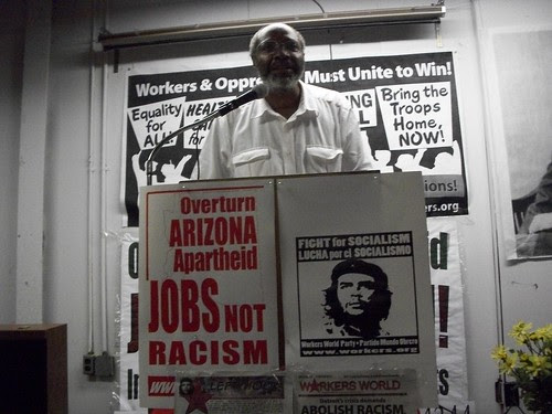 Abayomi Azikiwe, editor of the Pan-African News Wire, addressing a public forum honoring Black August. The event was held on August 7, 2010. (Photo: Andrea Egypt) by Pan-African News Wire File Photos