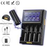 Universal Battery Charger with USB Output for Ni-MH Ni-Cd AA AAA C D SC Li-ion LiFePO4 18650 26650 10440 14500 16340 18350 Rechargeable Batteries 4-