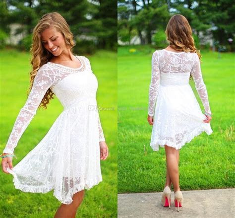 Discount Long Sleeves Lace Short Wedding Dresses Boho