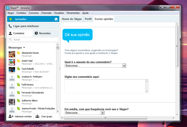 6 messenger sincronizado com skype