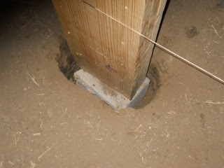 Barn Loft Post on Cinder Block in Hole