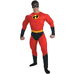 Disguise Mr. Incredible Deluxe Muscle Adult Costume, Red