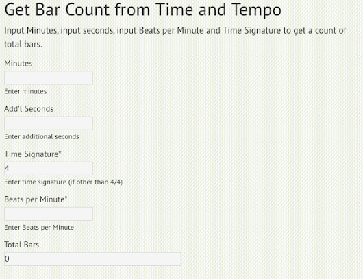 Get Bar count from Time and Tempo | Arranger For Hire