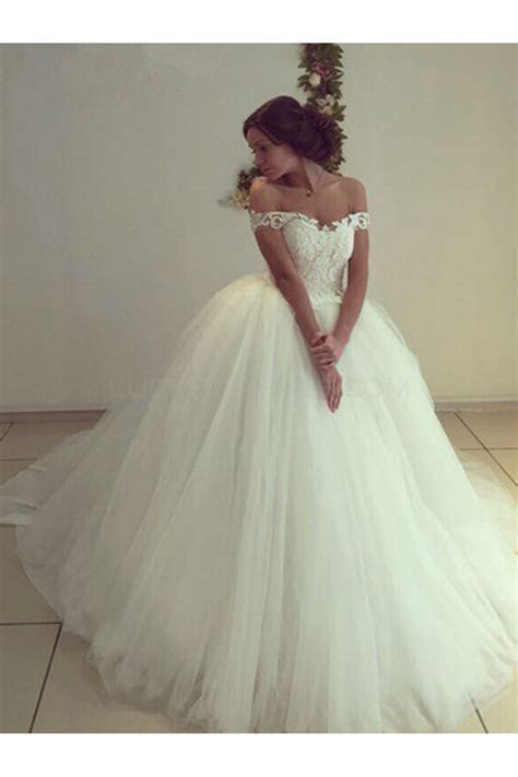 Lace Tulle Ball Gown Off the Shoulder Wedding Dresses