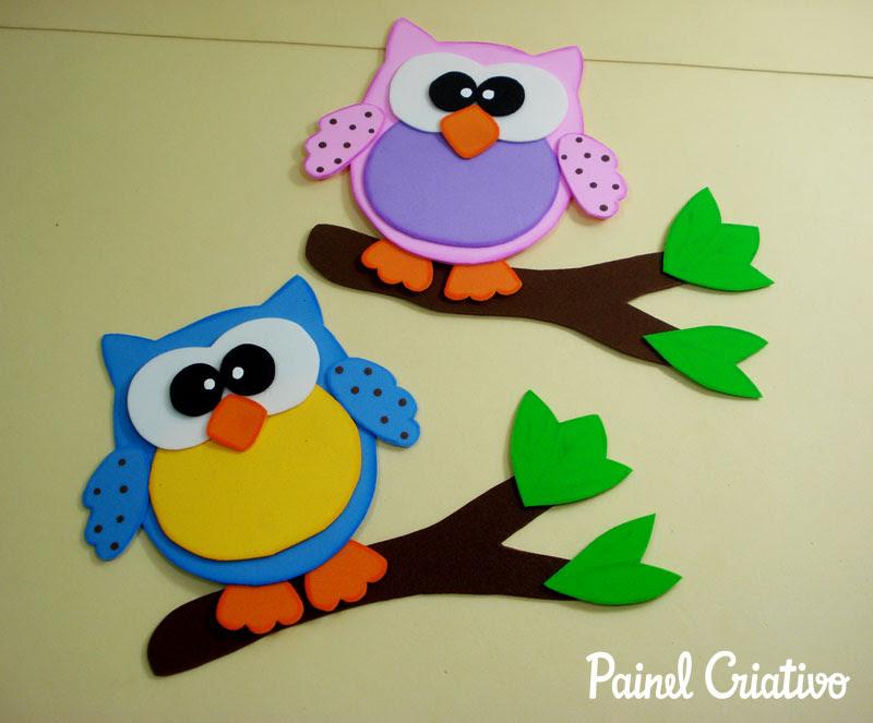 como fazer corujinha em eva artesanato decorar sala de aula cartazes paineis escola quarto festa aniversario infantil (3)