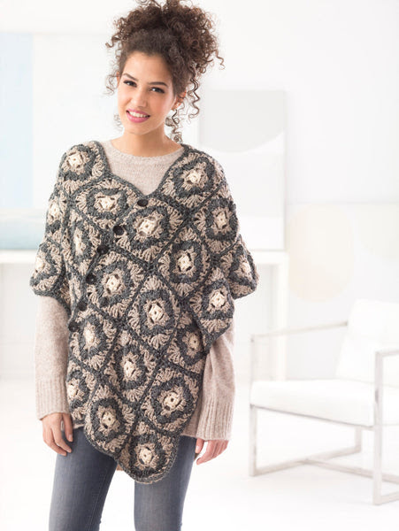 Buttoned Poncho (Crochet) Download Free Pattern