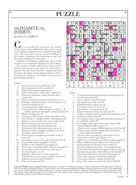 October 2013 Harpers Cryptic answers | Tacky Harper's Cryptic Clues