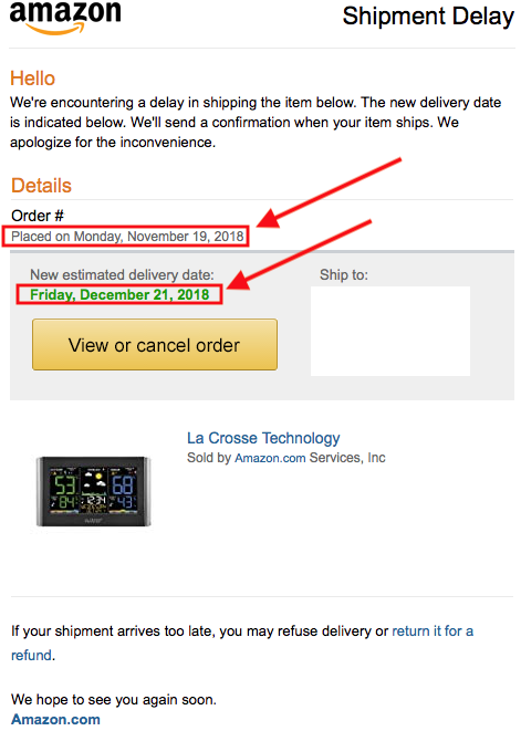 Delivery Date Change for Your Amazon.com Order (Shipment Delay)