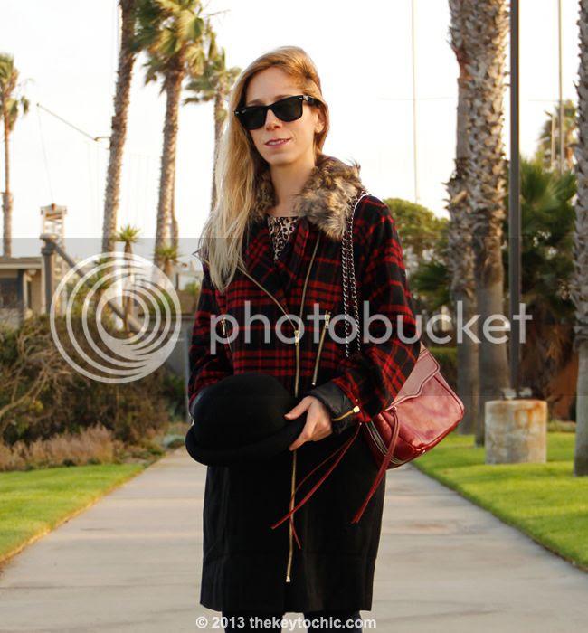 Merona leopard tee, Boohoo Boutique Alexa biker plaid jacket, Uniqlo skinny jeans, Rebecca Minkoff Swing bag, and bowler hat from Target