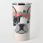 French Bulldog Dog Breed Floral Crown Frenchies Lover Pure Breed Gifts Travel Coffee Mug by Forever Frenchies - 20 oz