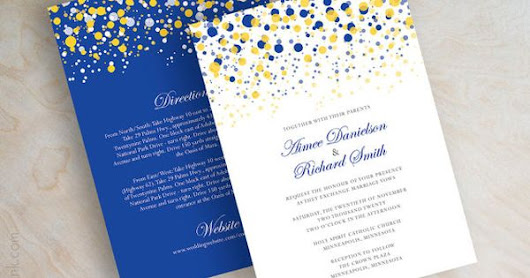 Blue and yellow, gold, polka dot wedding invitation, modern, dots wedding invitations, polka dot wedding invitations, polka dots, Glitter