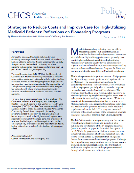 Strategies to Reduce Costs and Improve Care for High-Utilizing Medicaid Patients: Reflections on Pioneering Programs - Center for Health Care Strategies