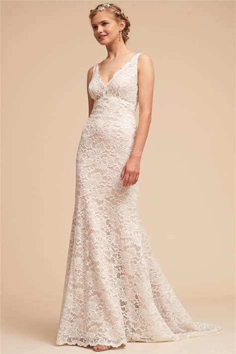 China V Neck Lace Bridal Gown Mermaid Fishtail Wedding