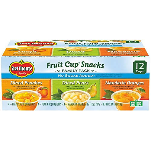 Del Monte Fruit Cup Snacks, Family Pack - 12 count, 3.75 oz each