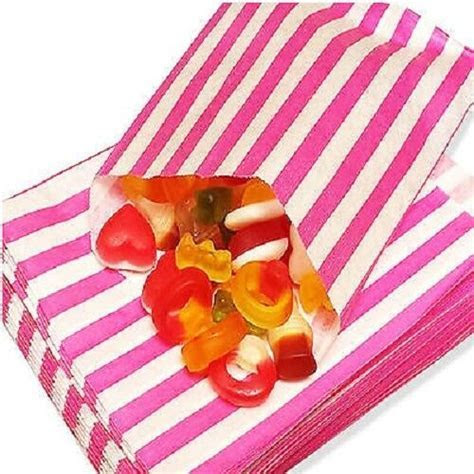 100 CANDY STRIPE PAPER PICK N MIX SWEET BAG GIFT PARTY