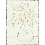 """24"""" Embossed Flowers in Vase Distressed Metal Wood Wall Décor - Creative Co-Op"""