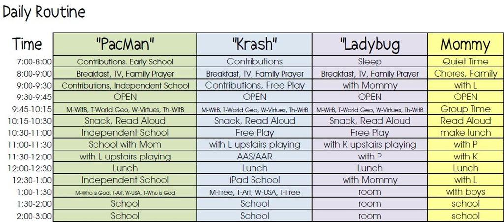 Homeschool Daily Schedule Kindergarten | Daily Planner