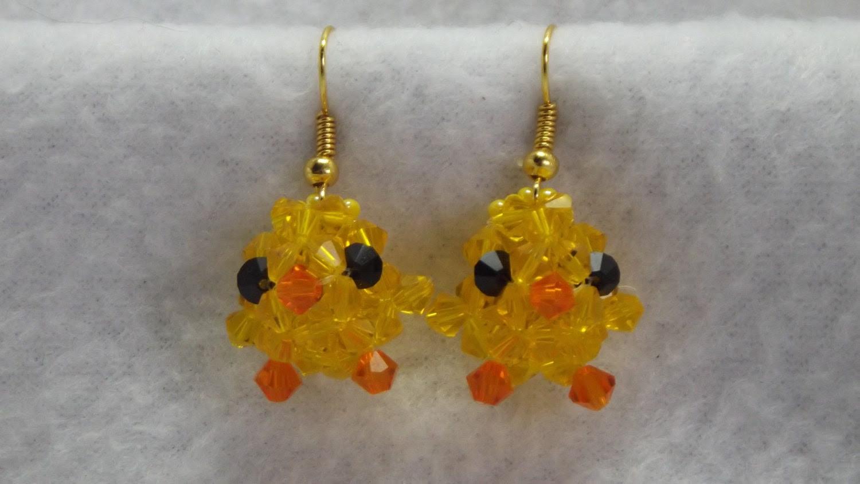 Easter Yellow Chick with cute little orange beak Earrings spring peeps