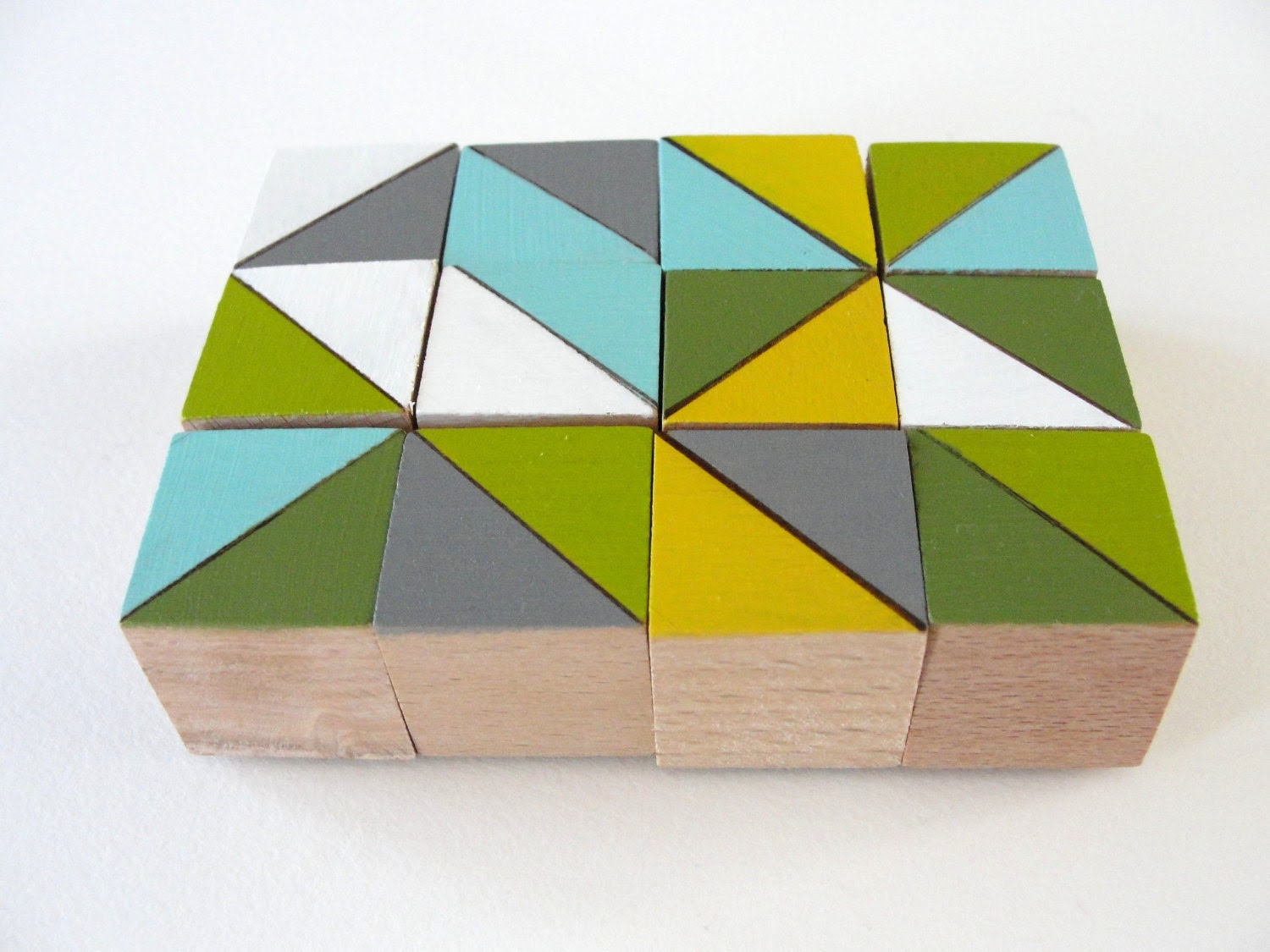 "Art Block Magnets - 12 Hand Painted Geometric Wood Blocks 1x1x1"" in Midwest Modern Set (Gray, Green, & Yellow)"