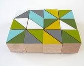 "Art Block Magnets - 12 Hand Painted Geometric Wood Blocks 1x1x1"" in Midwest Modern Set (Gray, Green, & Yellow)"