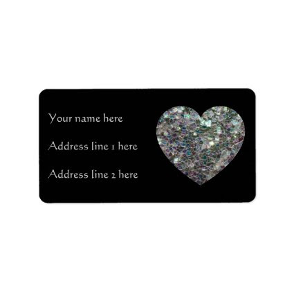 Customizable Sparkly colourful silver mosaic Heart Address Label
