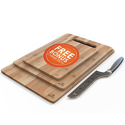 3 Piece Bamboo Cutting Board Set Made From Premium Wood Thick Germ