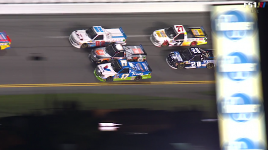 Four flat tires, a fire and a jackman was run over; That's all in lap 2 of the Daytona Truck race - Racing News