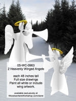 2 Heavenly Winged Angels Yard Art Full Size Woodworking Patterns - fee plans from WoodworkersWorkshop® Online Store - Christmas angels,3D,3-D,yard art,angles,painting wood crafts,scrollsawing patterns,drawings,plywood,plywoodworking plans,woodworkers projects,workshop blueprints