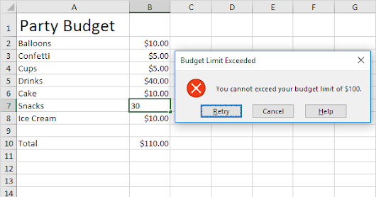 Budget Limit in Excel