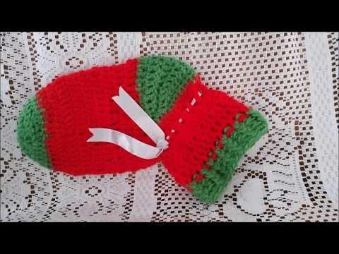 Meia/Bota de Papai Noel  em crochê, duas cores, confeccionado por  Edilene Brandão da Silva 2017