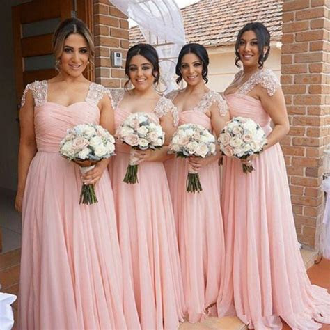 2017 New Arabic African Chiffon Pink Blush Bridesmaid