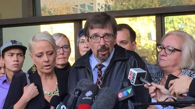 Bret McCann speaks to media outside court on Thursday after the guilty verdict was delivered in Edmonton.