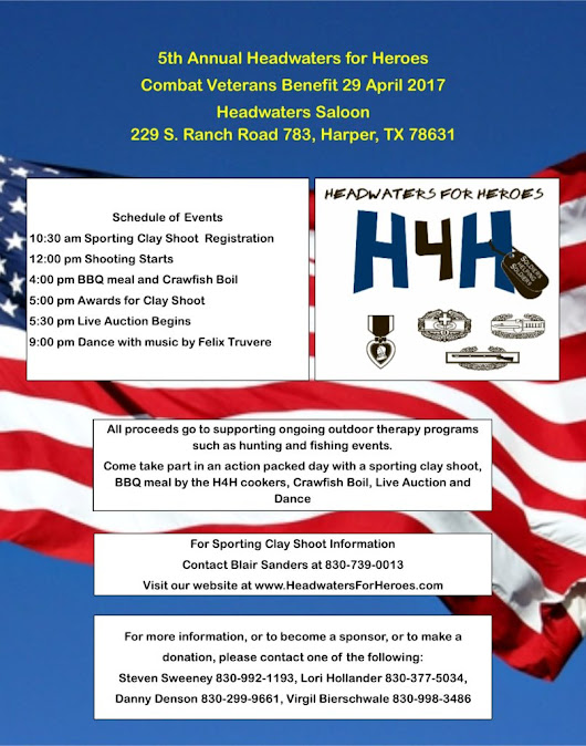 Time to mark your calendars for our annual event – Headwaters For Heroes