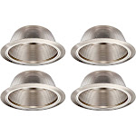 TORCHSTAR 4 Pack 6 Inch Recessed Can Light Trim with Satin Nickel Metal Step Baffle, for 6 inch Recessed Can, Detachable Iron Ring Included