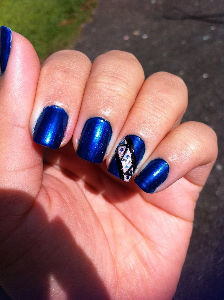 Royal Blueglitter Nails Amp Toe Nails Pinterest Nail Art Design