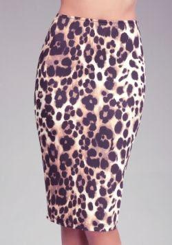 Bebe Leopard Scuba Knit Midi Skirt