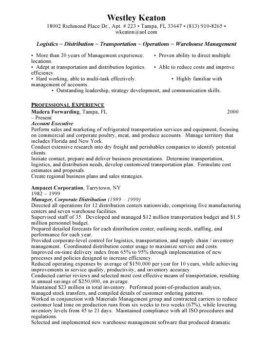 logistics resume sample download