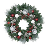 """30"""" Red and Silver Decorated Artificial Wreath"""