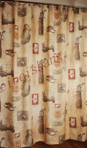 Golf-club-shower-curtain-retro ...