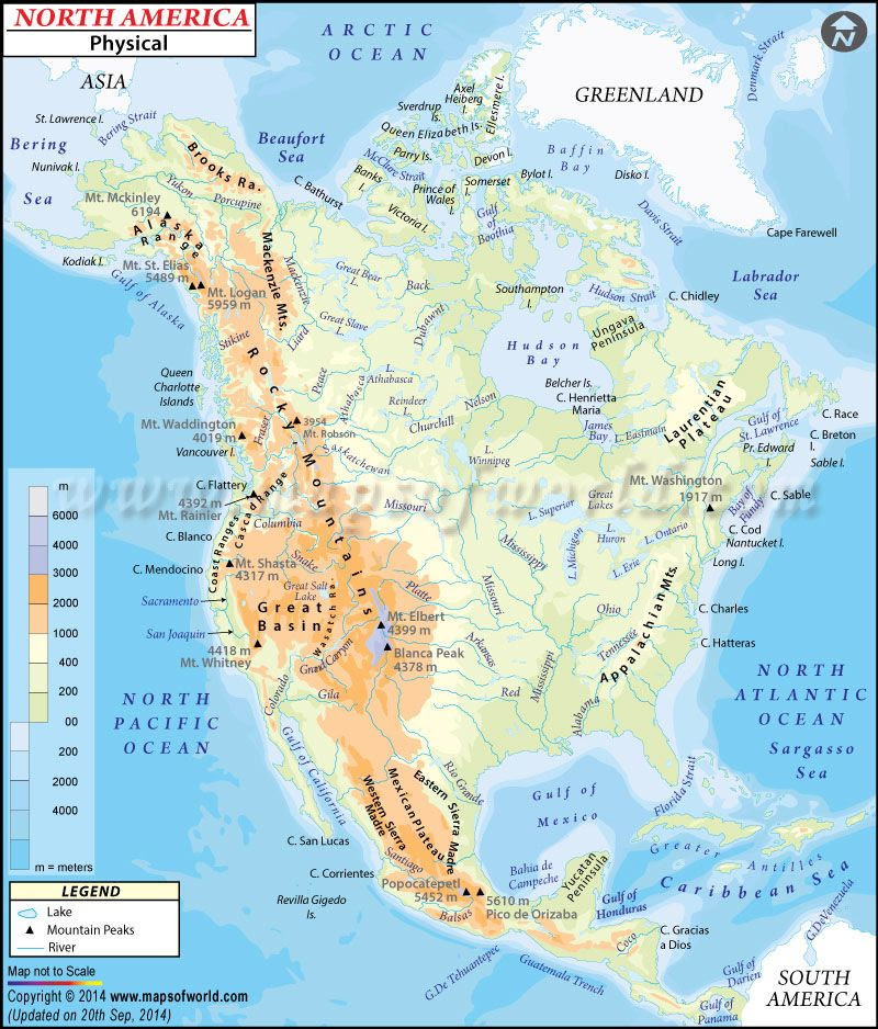 Physical Map Of North America North American Geography
