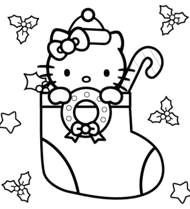 Coloriage Hello Kitty Noel A Imprimer Gratuit Ancenscp