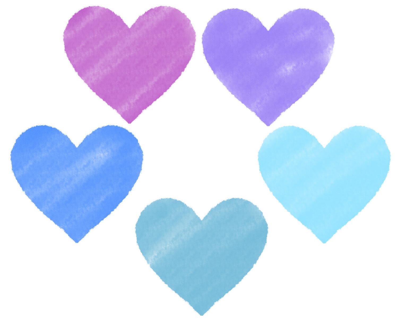 パステルクレヨン風のハートイラスト素材 パープル青 ハートの素材屋