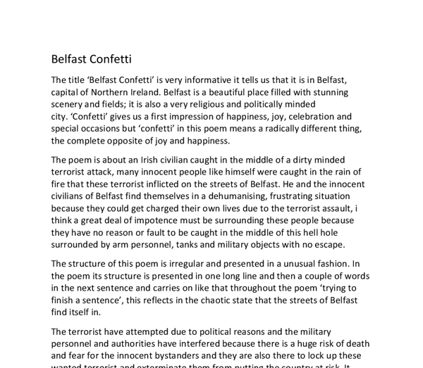 Analysis Of The Poem Belfast Confetti Gcse English Marked By