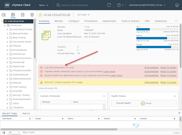 Log Disk Exhaustion on VCSA 7 Fix