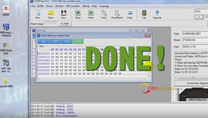 Xhorse Vvdi Porsche Bcm Programmation des touches de lecture 021
